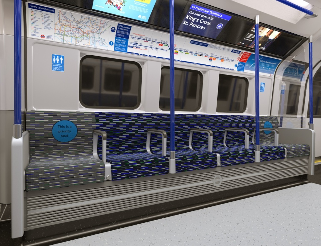 The train interior is white and blue
